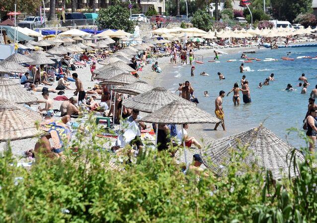 Sahil, kalabalık, deniz, plaj