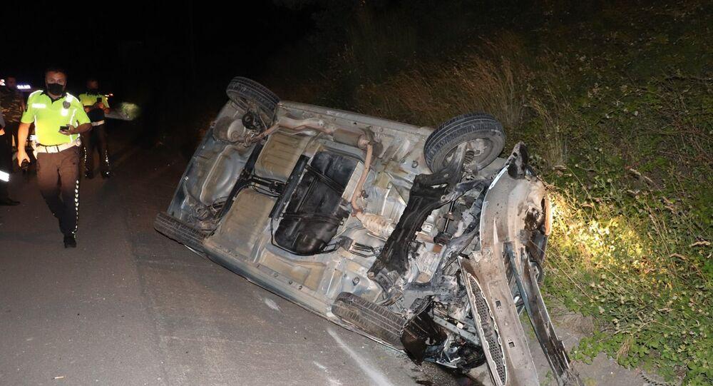 Otomobiliyle takla atan alkollü sürücü Zonguldak