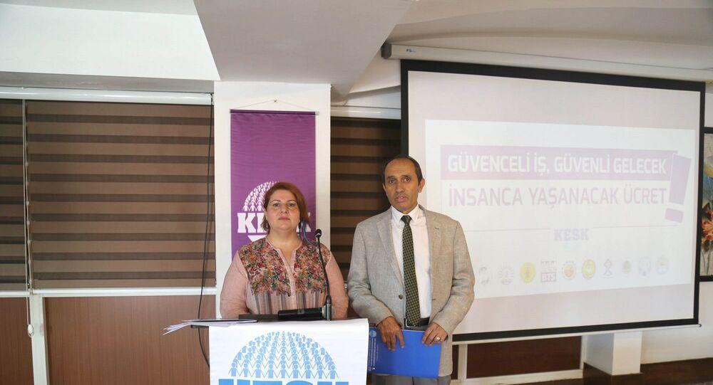 KESK  Eş Genel Başkanları Mehmet Bozgeyik ve Şükran Kablan Yeşil