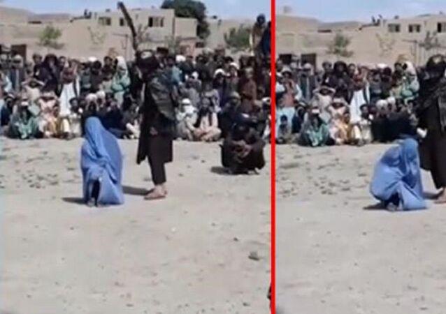 Afganistan'da bir erkekle konuştuğu iddia edilen kadın
