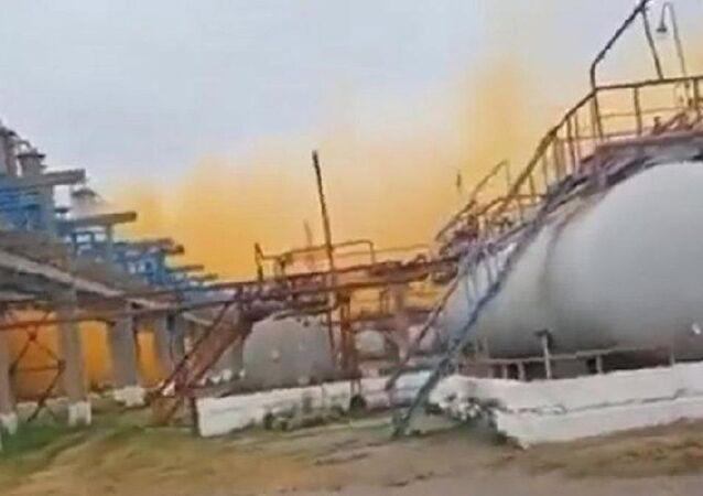 Ukrayna'da azot fabrikasında patlama: Gökyüzü turuncu dumanla kaplandı