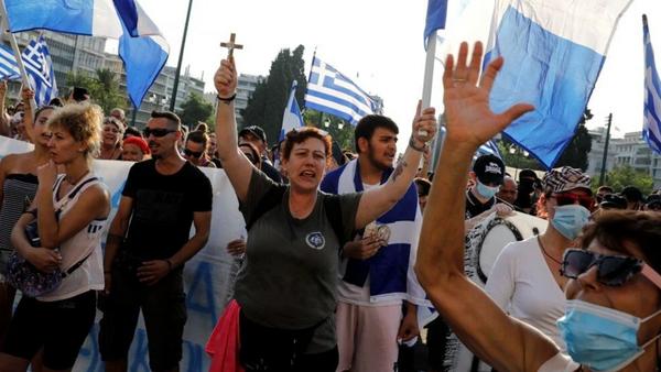 Yunanistan'da aşı karşıtları polisle çatıştı - Sputnik Türkiye