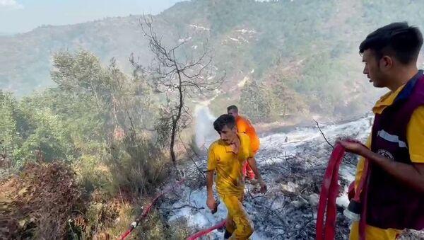 Hatay'ın Yayladağı ilçesinin karşısındaki Suriye topraklarında çıkan ve Türkiye'ye sıçrayan orman yangını kontrol altına alındı. - Sputnik Türkiye