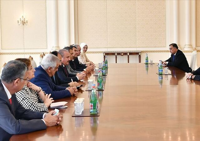 Azerbaycan Cumhurbaşkanı Aliyev, TBMM Başkanı Şentop'u kabul etti