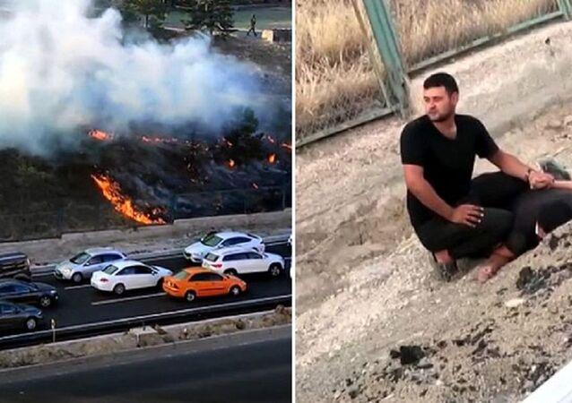 Ankara'da askeriyedeki ormanlık alanı ateşe veren kişi yakalandı