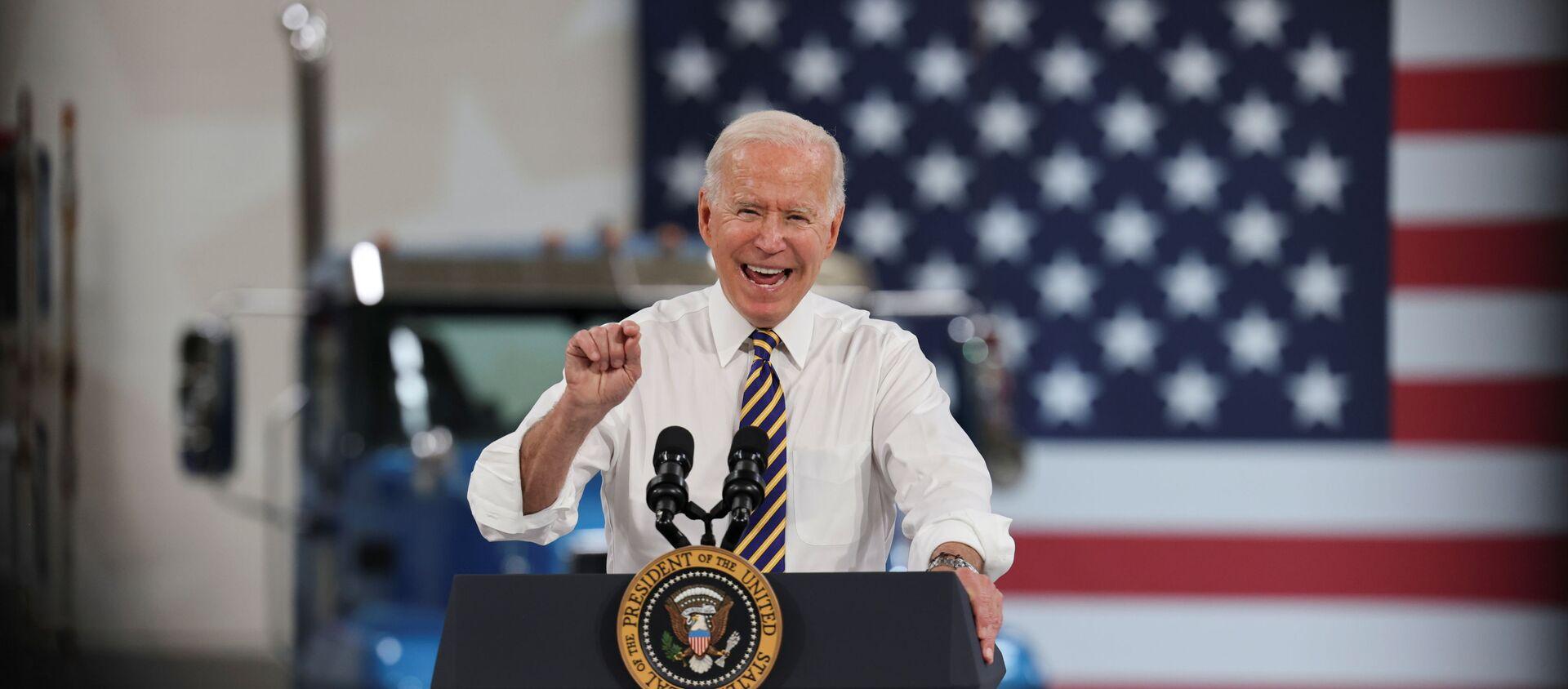 ABD Başkanı Joe Biden, Pensylvania eyaletindeki otomotiv üreticilerini ziyaret ederek konuşma yaptı (28 Temmuz 2021) - Sputnik Türkiye, 1920, 30.07.2021