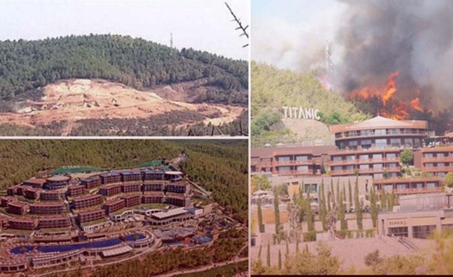 Çıkan yangında yanan ağaçların yerine dikilen otel, yangın nedeniyle tahliye edildi - Sputnik Türkiye, 1920