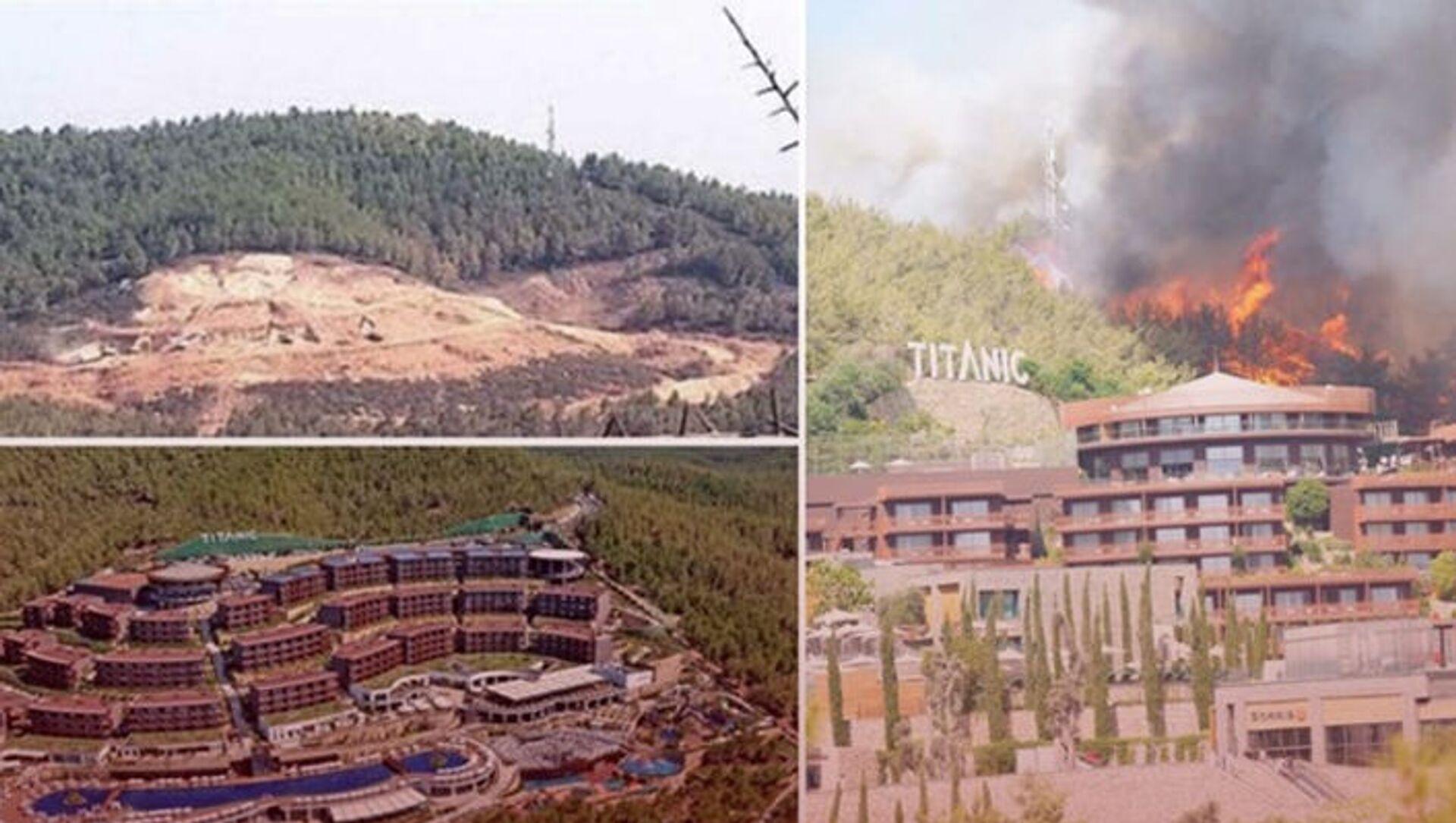 Çıkan yangında yanan ağaçların yerine dikilen otel, yangın nedeniyle tahliye edildi - Sputnik Türkiye, 1920, 29.07.2021