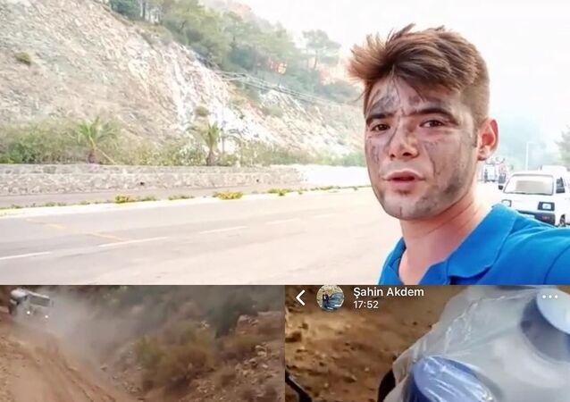 Marmaris ilçesinde çıkan orman yangınını söndürme çalışmalarına katılan Şahin Akdemir'in bugün hayatını kaybetmeden önce yangında çektiği son görüntüler ortaya çıktı. Şahin'in gönüllü olarak yangın söndürme çalışmalarına katılan personele su taşıdığını söylediği görüntüler herkesi duygulandırdı.