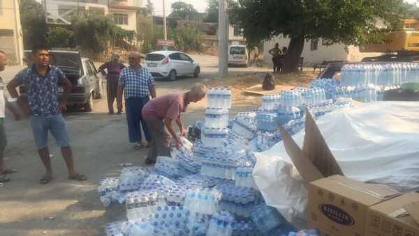 Vatandaşlar yangın bölgesindeki ekiplere su ve yiyecek taşıyor - Sputnik Türkiye