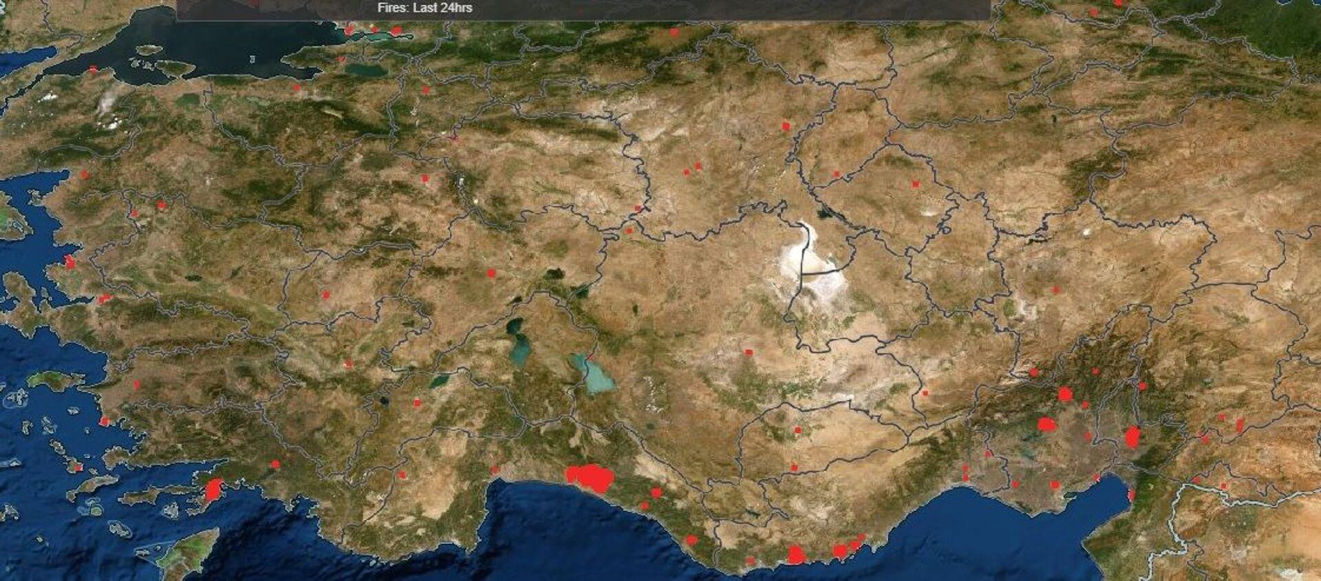 NASA'nın FIRMS uygulamasında Manavgat'taki orman yangını - Sputnik Türkiye, 1920, 30.07.2021
