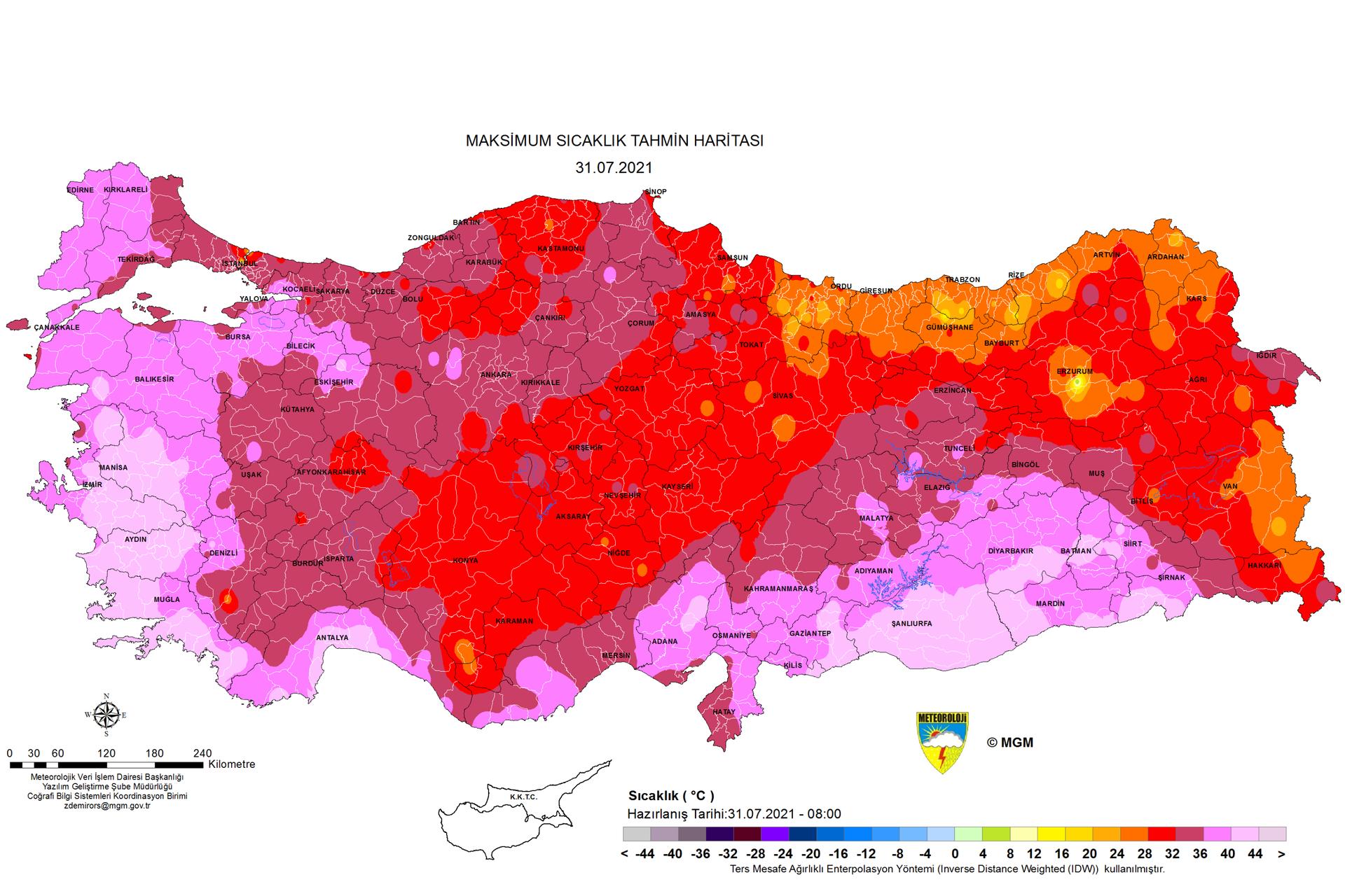 Renklerle kategorilendirilen haritadaki sıcaklık beklentileri dikkat çekti. - Sputnik Türkiye, 1920, 10.08.2021