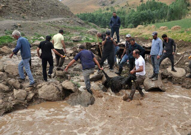 Hakkari'nin Yüksekova ilçesine bağlı Kısıklı köyünün Dereiçi mezrasında meydana gelen selde 500 civarında koyun hayatını kaybetti.