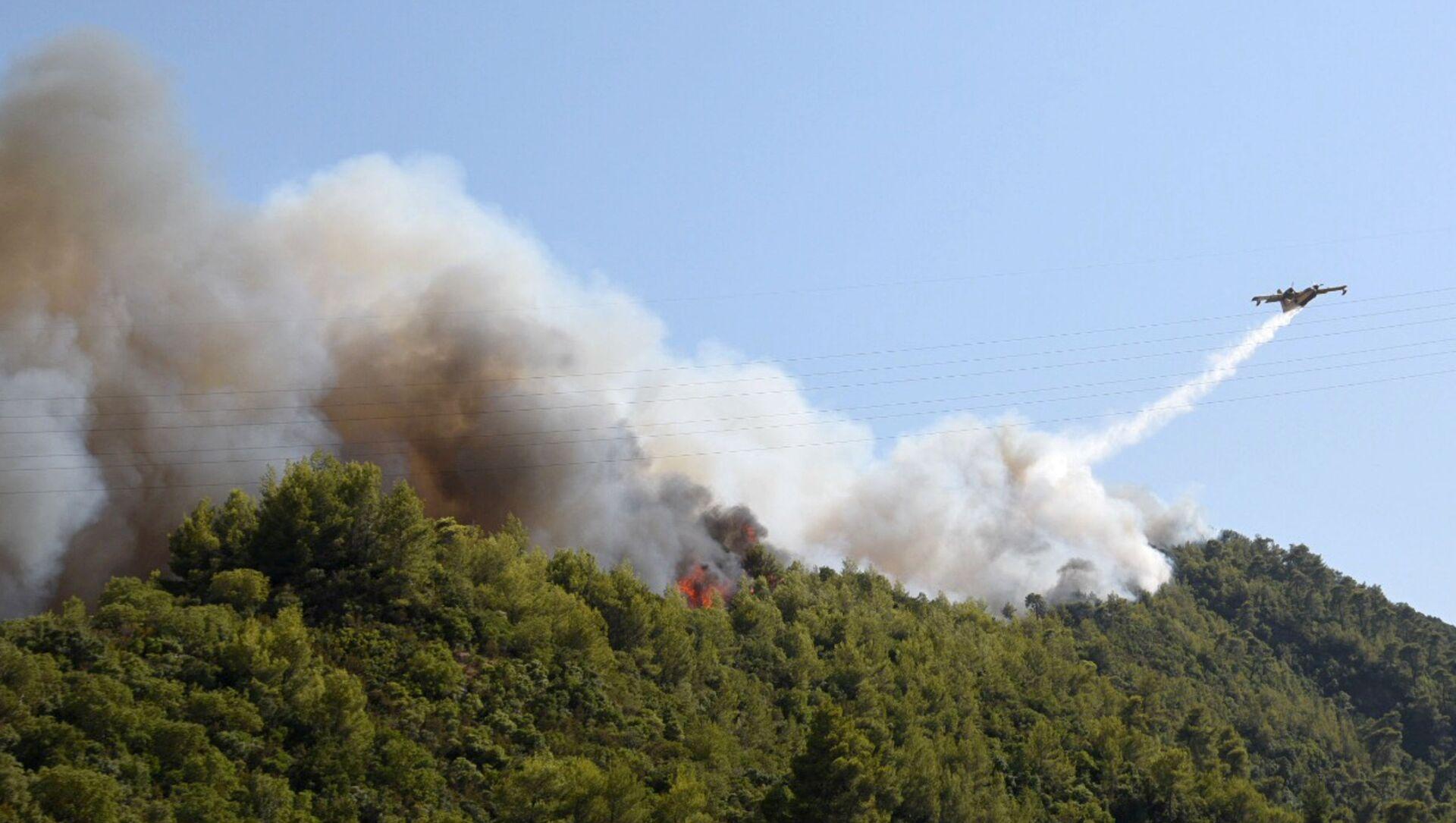 Yunanistan'da çıkan orman yangını nedeniyle yaralanan 5 kişi hastaneye kaldırılırken, birkaç evde hasar meydana geldi. - Sputnik Türkiye, 1920, 02.08.2021
