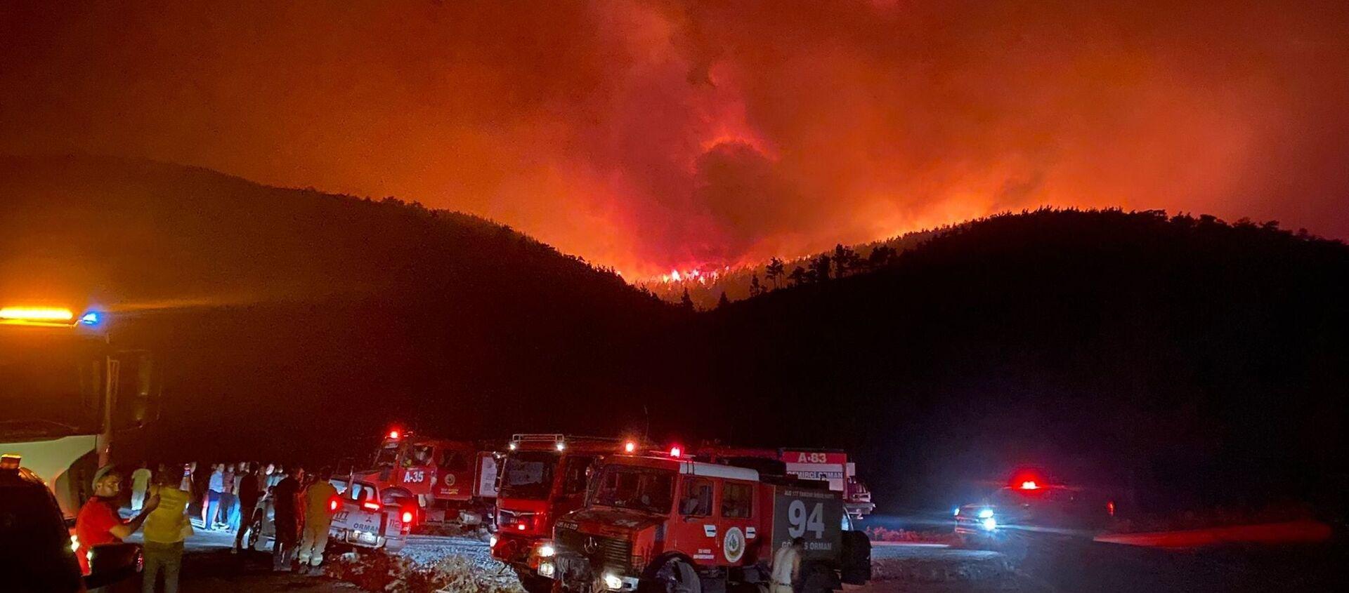 Milas'ın Beyciler Mahallesi'nde başlayan orman yangını, Bodrum'a sıçradı - Sputnik Türkiye, 1920, 31.07.2021