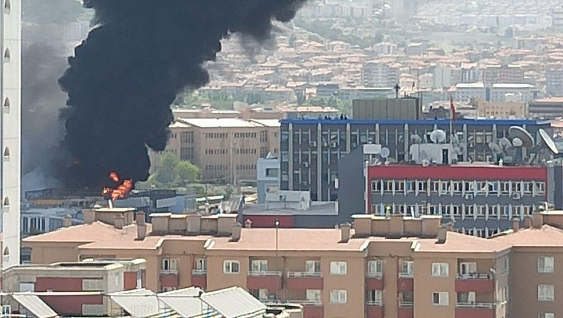 Ankara'da özel hastane inşaatında yangın - Sputnik Türkiye, 1920, 04.08.2021