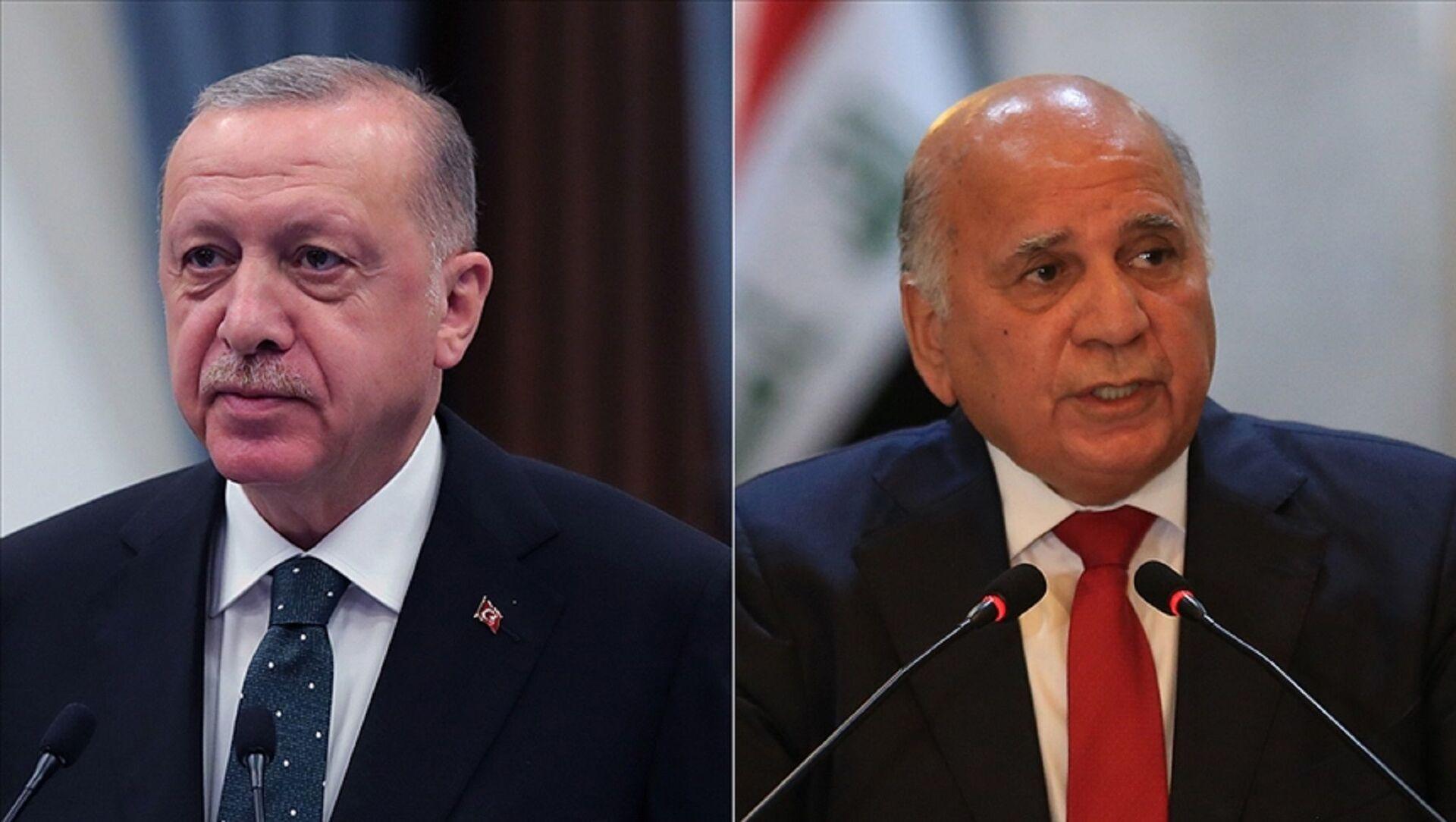Türkiye Cumhurbaşkanı Recep Tayyip Erdoğan, Irak Dışişleri Bakanı Fuat Hüseyin - Sputnik Türkiye, 1920, 07.08.2021