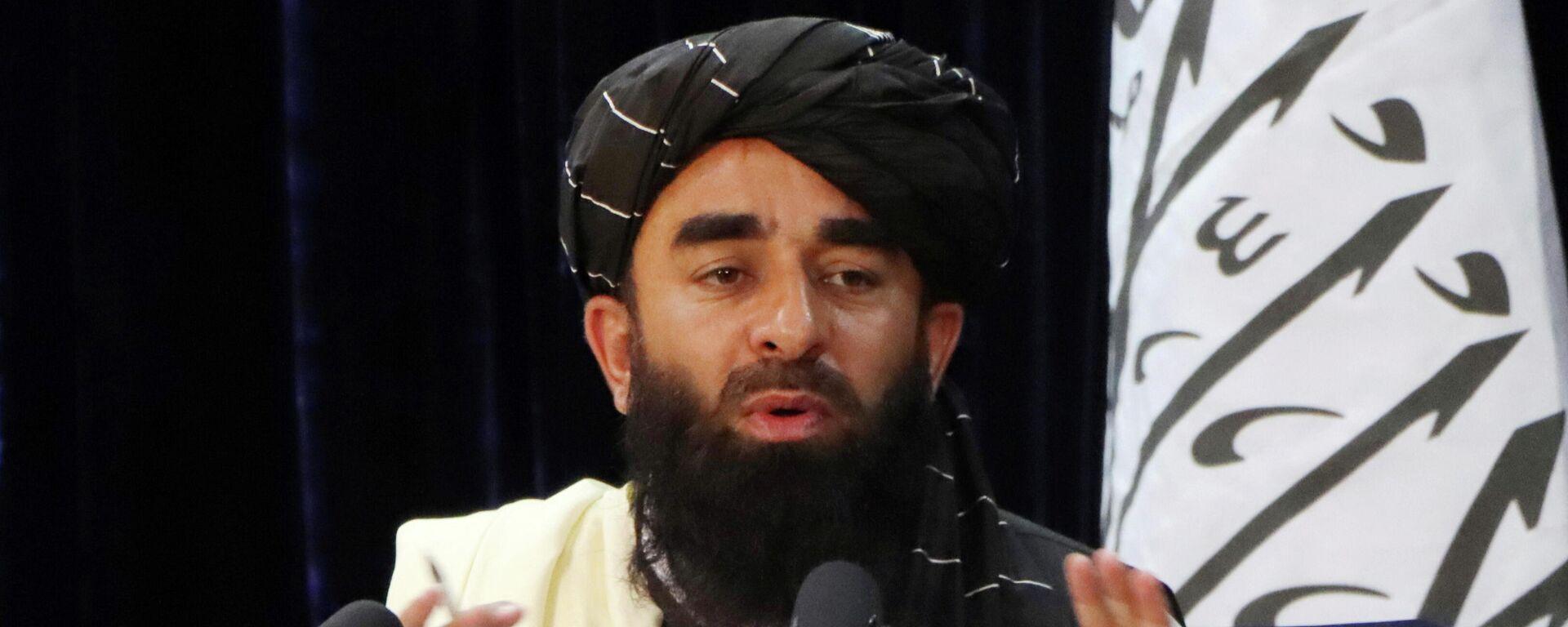 Taliban Sözcüsü Zabihullah Mücahid, Kabil'de basın toplantısı düzenlerken (Ağustos 2021) - Sputnik Türkiye, 1920, 26.08.2021