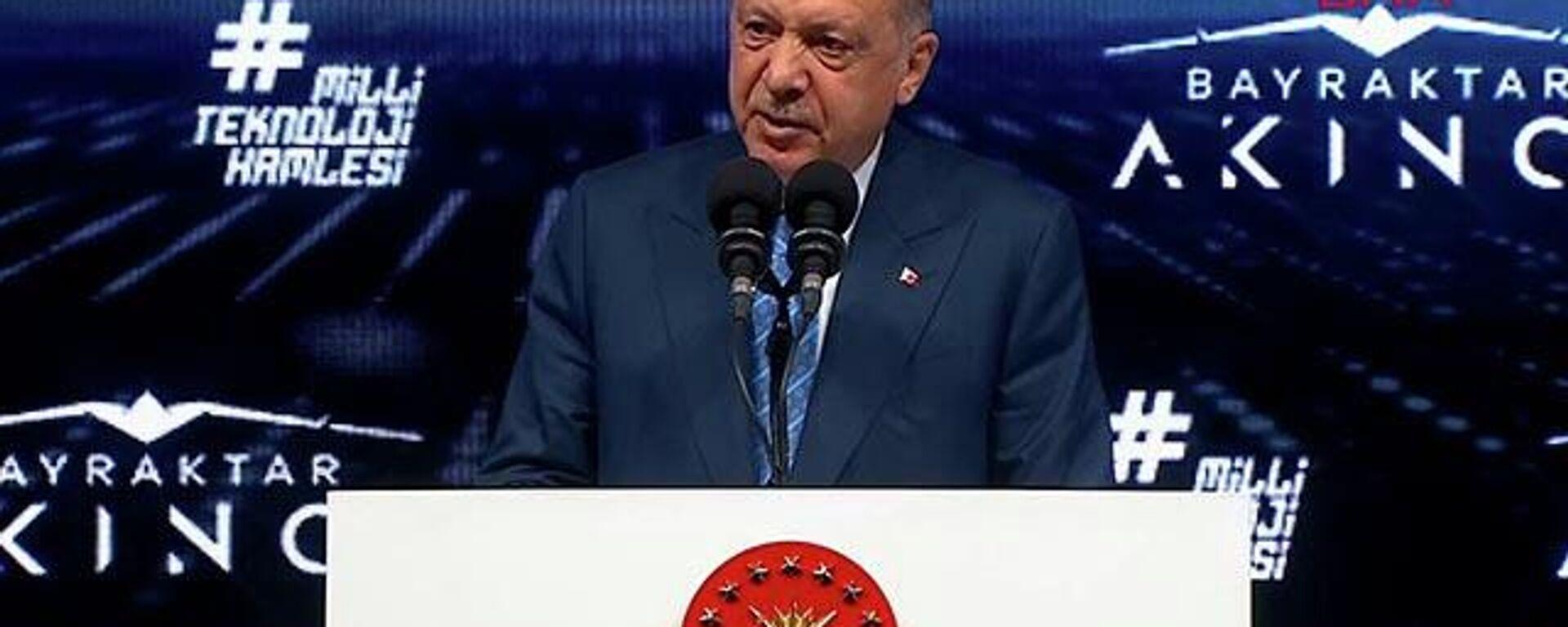 Cumhurbaşkanı Erdoğan Akıncı TİHA'nın teslimat töreninde konuşuyor  - Sputnik Türkiye, 1920, 29.08.2021
