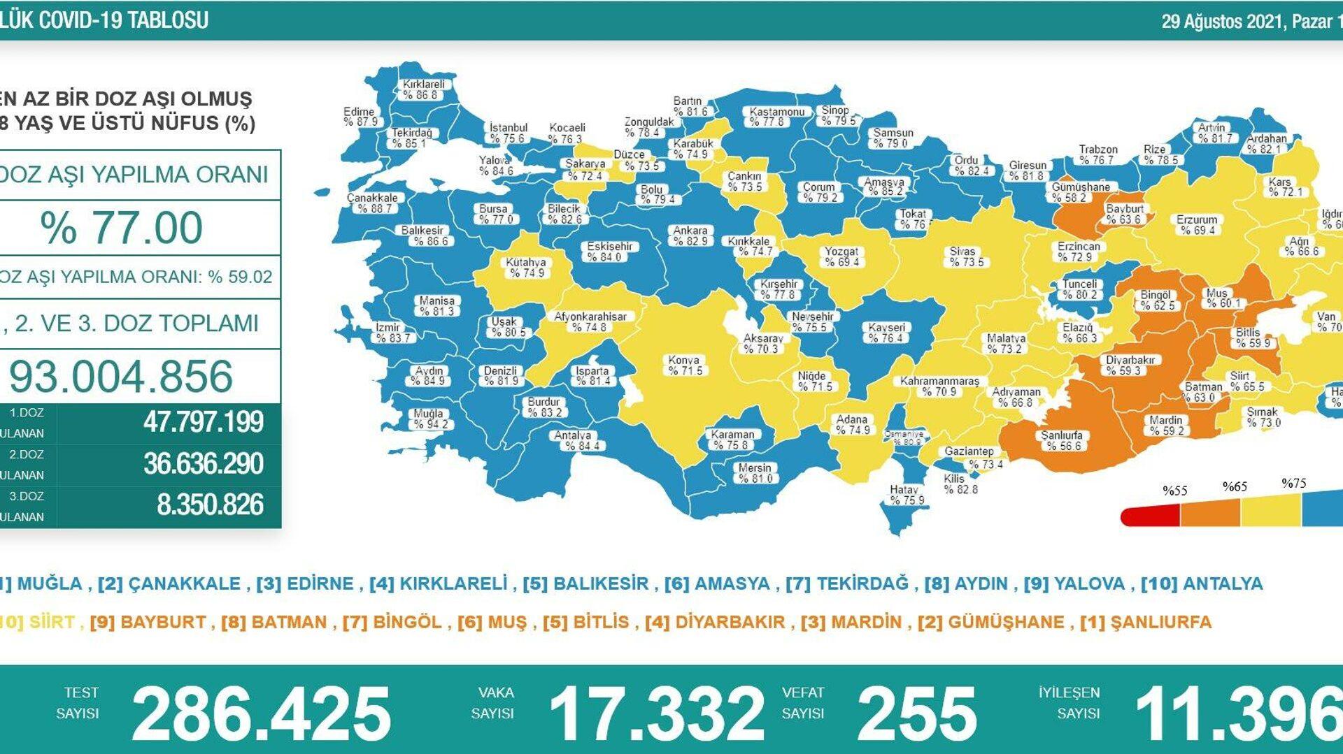 Türkiye'de son 24 saatte 17 bin 332 kişinin koronavirüs testi pozitif çıktı  - Sputnik Türkiye, 1920, 29.08.2021