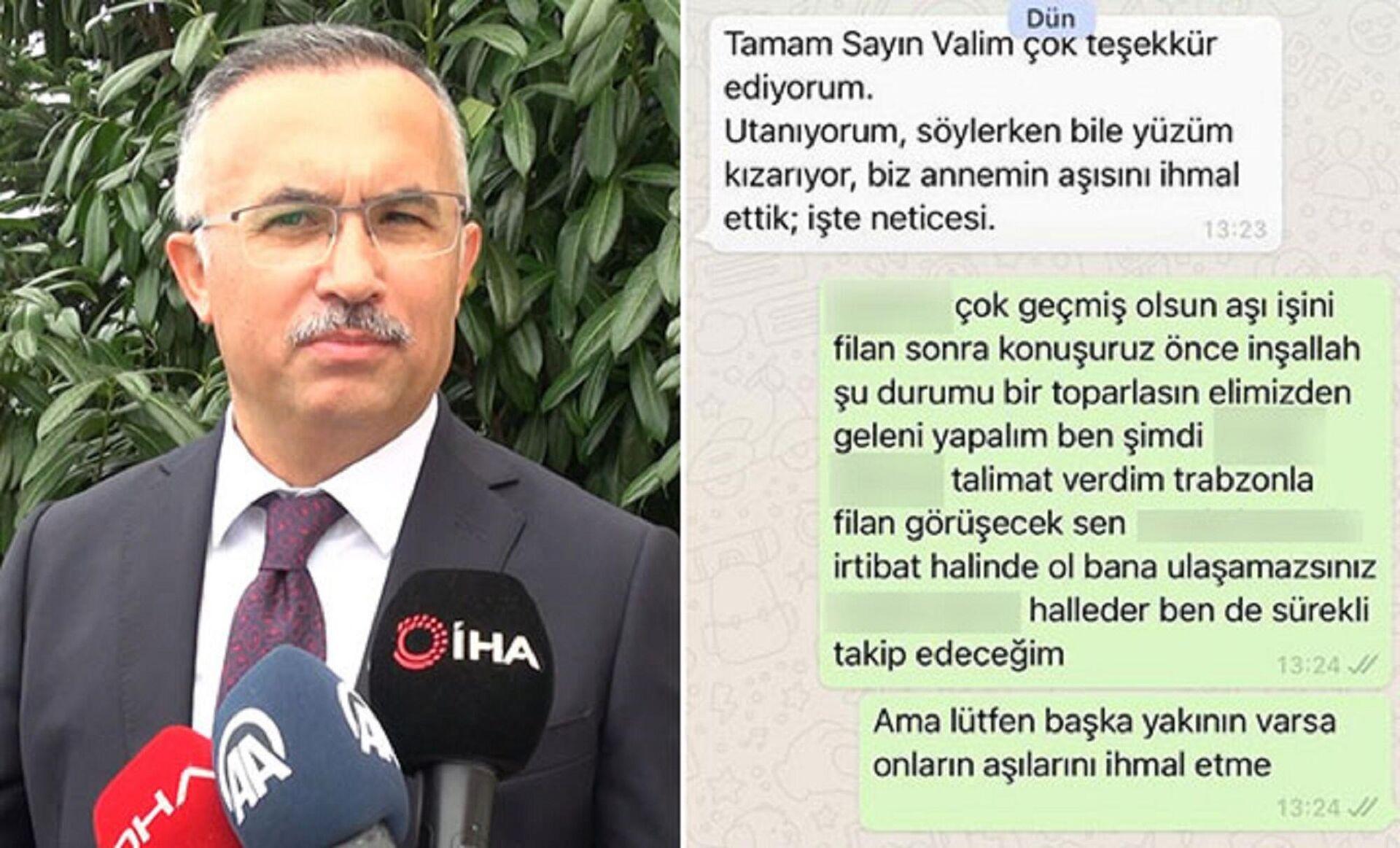 Rize Valisi Kemal Çeber, bir vatandaşın gönderdiği WhatsApp mesajını anlattı - Sputnik Türkiye, 1920, 30.08.2021