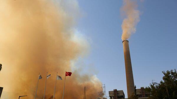 Milas'ta etkili olan yangınlar Kemerköy Termik Santrali'ne yaklaştı. - Sputnik Türkiye