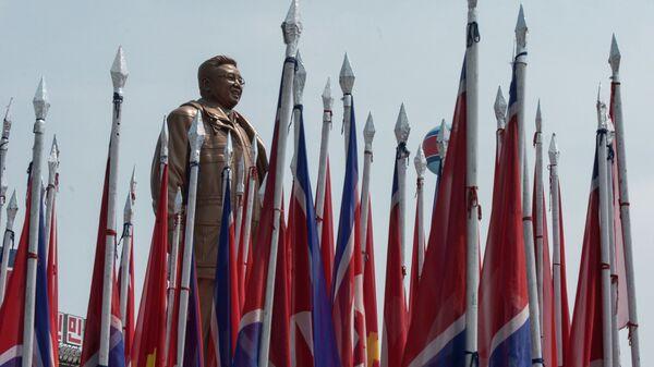 Kuzey Kore Bayrak  Pyongyang - Sputnik Türkiye