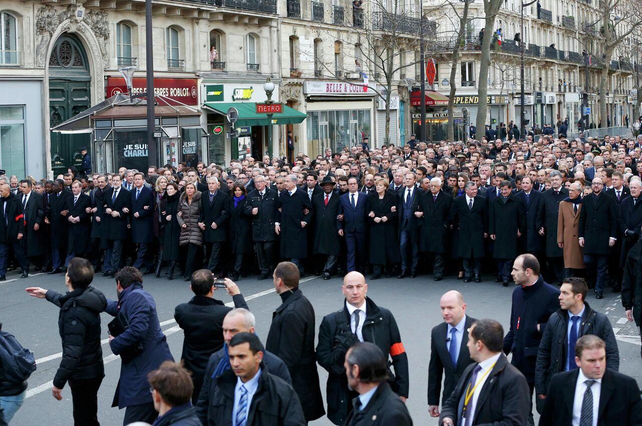 Dünya liderleri, Paris'te teröre karşı yürüdü