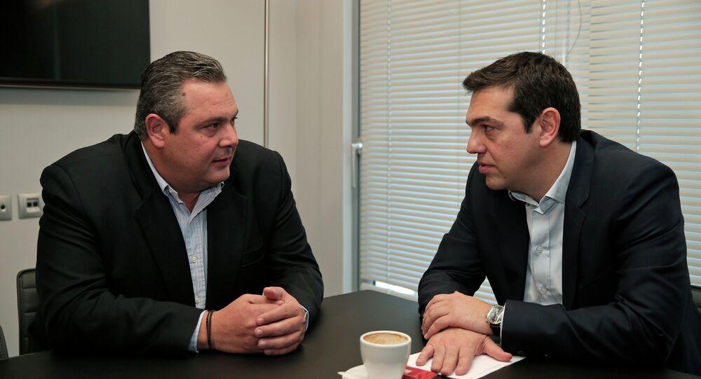 SYRIZA'nın lideri Aleksis Çipras ve ANEL'in lideri Panos Kammenos