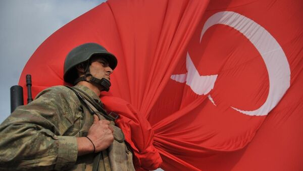 Türk askeri ve dev Türk bayrağı - Sputnik Türkiye