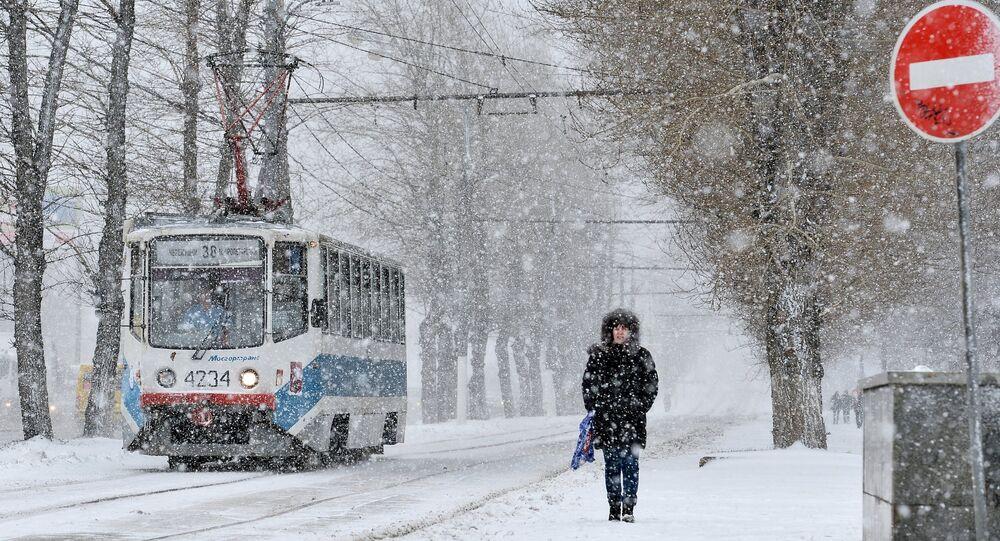 Moskova'da kar fırtınası