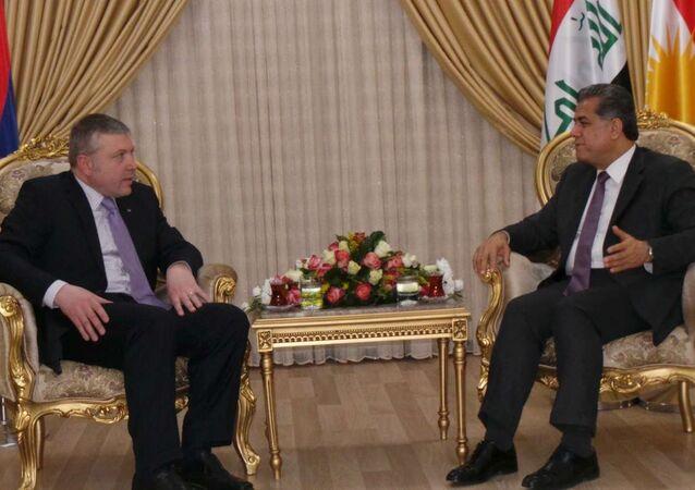 Kürdistan Bölgesel Yönetimi Dış İlişkiler Sözcüsü Falah Mustafa ve Ermenistan Bağdat Büyükelçisi Karin Gregorian