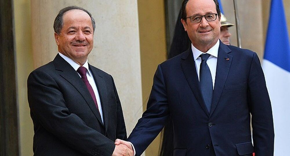 Fransa Cumhurbaşkanı François Hollande ile IKBY Başkanı Mesut Barzani