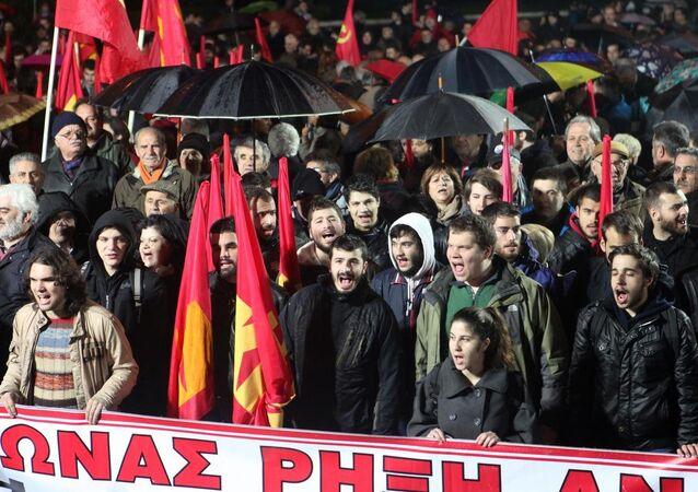 Yunanistan'ın başkenti Atina'da, Yunanistan Komünist Partisi (KKE) tarafından hükümet karşıtı bir gösteri düzenlendi.