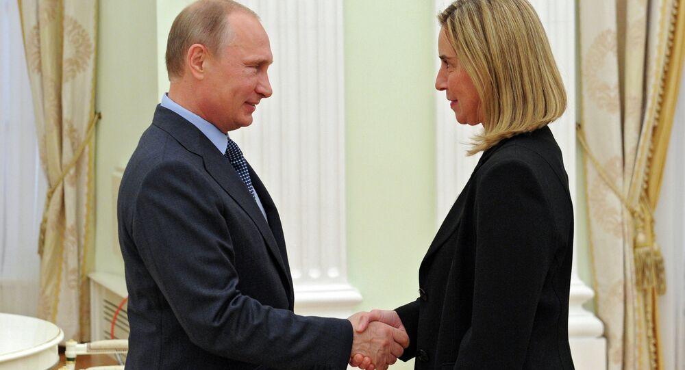 Rusya Devlet Başkanı Vladimir Putin ve AB Dış İlişkiler ve Güvenlik Politikası Yüksek Temsilcisi Federica Mogherini