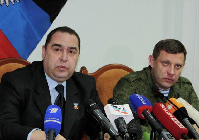 Lugansk Cumhurbaşkanı İgor Plotnitskiy (solda) ve Donetsk Cumhurbaşkanı Aleksandr Zaharçenko ortak bir açıklama yayımladı.
