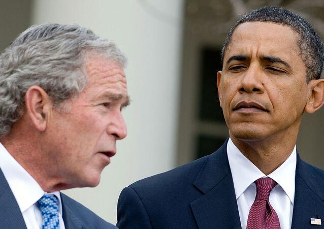 ABD Başkanı Barack Obama ve halefi George W. Bush
