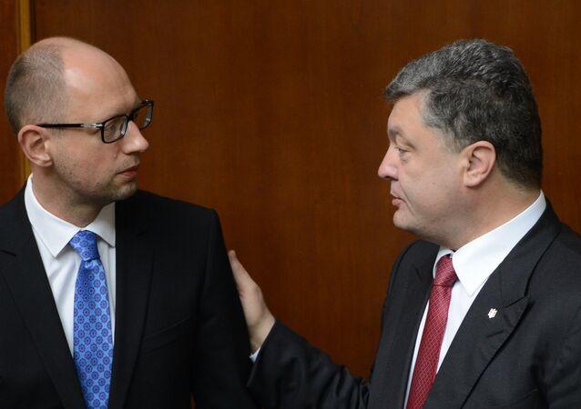 Ukrayna Devlet Başkanı Pyotr Poroşenko ve Başbakanı Arseniy Yatsenyuk.