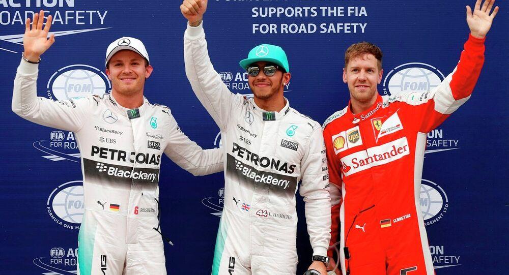 F1 pilotları Nico Rosberg- Lewis Hamilton- Sebastian Vettel