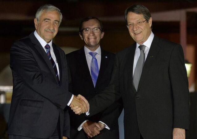 KKTC Cumhurbaşkanı Mustafa Akıncı, Rum lider Nikos Anastasiadis, BM Genel Sekreteri'nin Kıbrıs Özel Danışmanı Espen Barth Eide