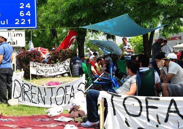 Bursa'da işçilerinin eylemi