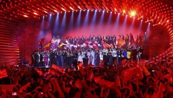 2015 Eurovision Şarkı Yarışması'nın tüm katılımcıları Viyana Stadthalle sahnesinde - Sputnik Türkiye