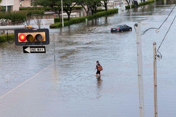 Sele teslim olan Teksas eyaletindeki Houston şehrinde bir kadın suda yürüyor - Sputnik Türkiye