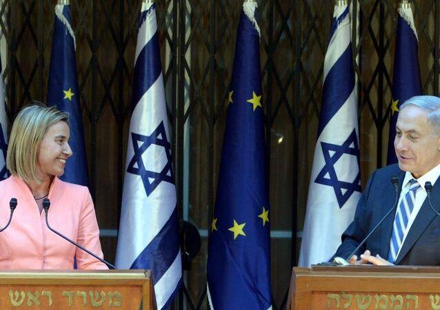 İsrail Başbakanı Benyamin Netanyahu ve AB Dışişleri ve Güvenlik Politikası Yüksek Temsilcisi Federica Mogherini