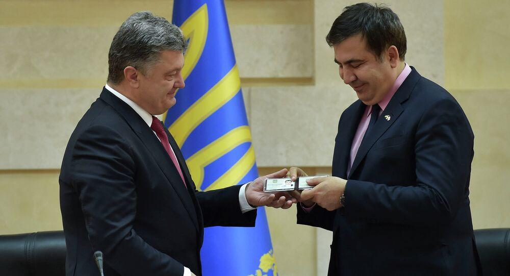 Ukrayna Devlet Başkanı Pyotr Poroşenko, eski Gürcistan Devlet Başkanı Mihail Saakaşvili