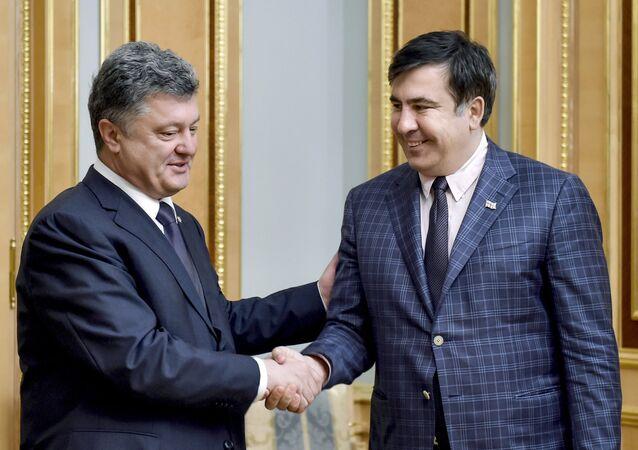 Ukrayna Devlet Başkanı Pyotr Poroşenko ve eski Gürcistan Devlet Başkanı Mihail Saakaşvili