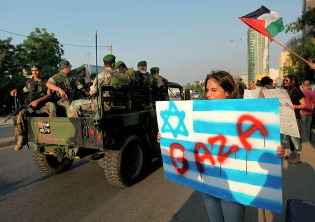 Lübnan'da Filistin'e destek gösterisi