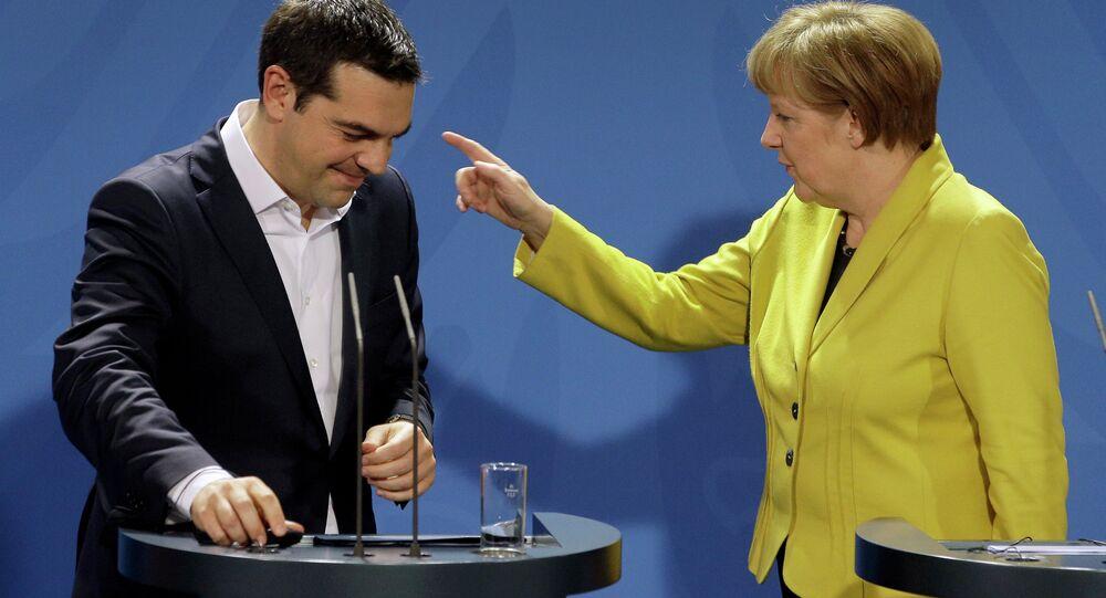 Almanya Başbakanı Angela Merkel ve Yunanistan Başbakanı Aleksis Çipras