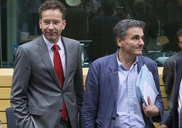 Yunanistan Maliye Bakanı Euclid Çakalotos  Euro Grubu Başkanı Jeroen Dijsselbloem