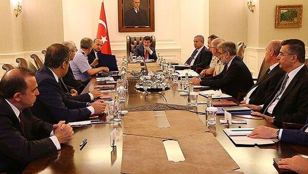 Türkiye Başbakanı Ahmet Davutoğlu başkanlığında Çankaya Köşkü'nde toplantı yapılıyor. - Sputnik Türkiye